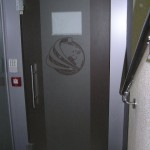 Стеклянные двери с логотипом
